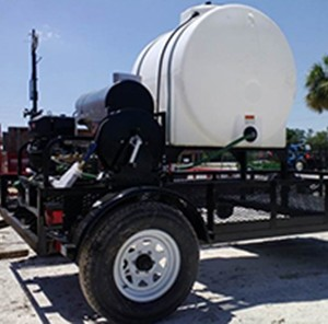 trailer with motor and hot water tank invented by Dr. Joshua King at UCF